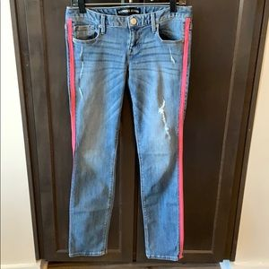 Express ankle jeans with pink stripe size 2R
